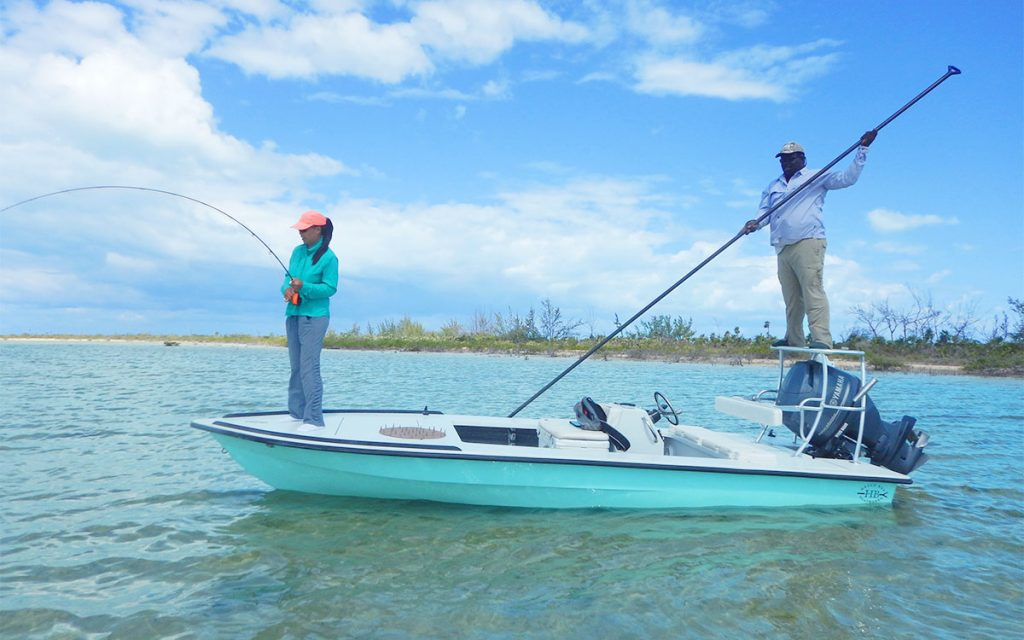 Fishing with Guide Shawn Riley on Hellsbay Marquesa flyfishing boat
